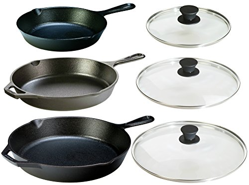 Lodge Seasoned Cast Iron 6 Piece Bundle Three Sets of Cast Iron Skillets with Tempered Glass Lids 8 Inch Set  1025 Inch Set  12 Inch Set