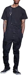 Eastery Hombre Peto Vaquero Negro Pantalones Mono De Respaldo Mono De Estilo Simple Bolsillo De Los Pantalones Vaqueros Pa...