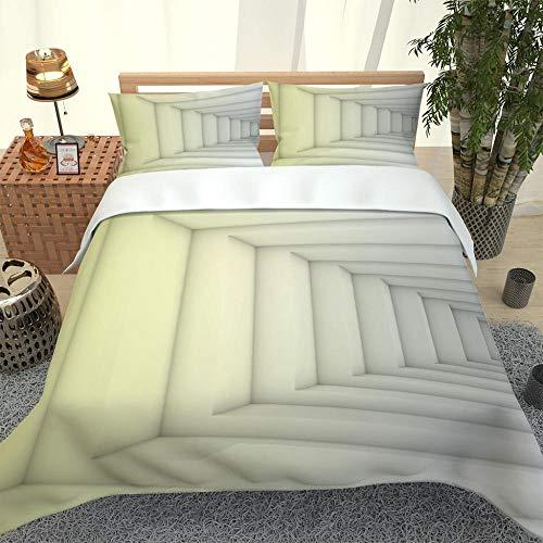Juego de Funda nórdica patrón de Escalera de Color Crema Juego de edredón con Estampado de 3D Juego de Cama 260x240cm+2 Fundas de Almohada