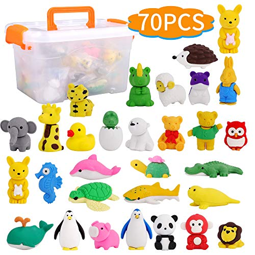 FiGoal 70 Pack Assorted Animal Erasers in 35 Designs with BONUS Storage Box Zoo Animal Puzzle Pencil Erasers Collectible Novelty Party Favors Classroom Games Prizes Carnivals School Supplies