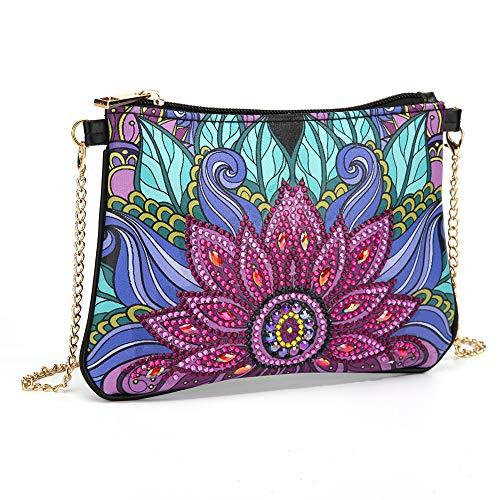MWOOT DIY Diamond Painting Cross-Body Tasche mit Kette,5D Diamantgemälde Umhängetasche Münzgeldbörse Make-Up Schultertasche Reißverschluss Handtasche für Mädchen Frauen