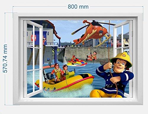 infans Feuerwehrmann Sam Wand Aufkleber 3D-Fenster, Kids Schlafzimmer Jungen Mädchen Art Wand Wandbild Tapete Größe L 57cm x 80cm
