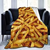 Golden French Fries Delicious Blanket Flannel Ultra Throw Soft Lightweight Luxury Air Conditioner Quilt for Sofa Bedroom All Season Use - Large 80x60in for Adult 40' X 50'