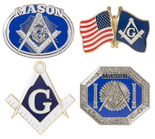 Artisan Owl Masonic Freemason Lapel Hat Pins Assortment Pack (Assortment of 4 Pins)