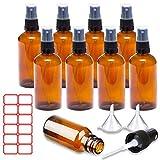 TOKINCEN Spray de Vidrio ámbar 8PCS 50ml Botella de Vidrio ámbar Vacía con Pulverizador Negro de Niebla Fina Vacía para Aromaterapia,Primeros Auxilios,Tamaño de Viaje,Líquidos Químicos