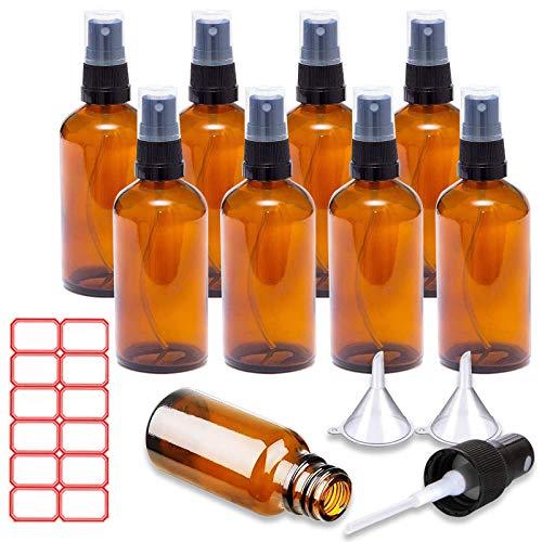 ToKinCen Juego de 8 botellas pulverizadoras de cristal marrón de 30 ml, para aceites esenciales, cosméticos, maquillaje, agua, líquido de viaje (50 ml, marrón)