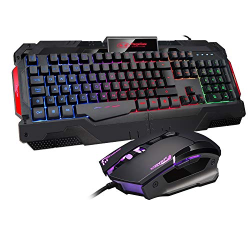 Gaming Tastatur und Maus PS4 LED Regenbogen Hintergrundbeleuchtung Tastatur USB Wired Tastatur und Maus Combo GK806 Schwarz Bunt für Windows 98/XP/ME/Win7/Win8 {UK-Layout}