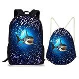 Nopersonality Mochila escolar para niños y niñas, con cordón, bolsa de viaje, juego de 2 unidades, Shark - Azul (1 juego) (Azul) - Nopersonality