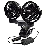 RoadPro RPSC8572 12-Volt Dual Fan with Mounting Clip, Black, 10X7X12
