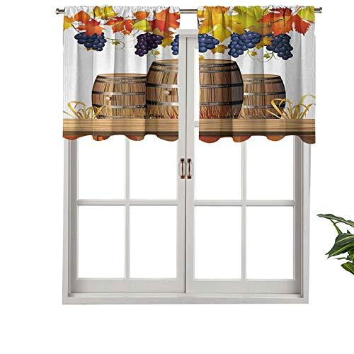 Hiiiman Cortina opaca con bolsillo para barra de varillas de madera con cenefa de vino con hojas de otoño de color dorado decoloradas, juego de 2, 137 x 61 cm, cenefa corta recta para sala de estar