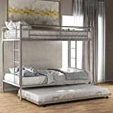 Merax Metal Bunk Bed with Trundle, Twin Over Twin Bunk Bed with Safety Guard Rails for Kids Teens Adults No Box Spring Required, Silver