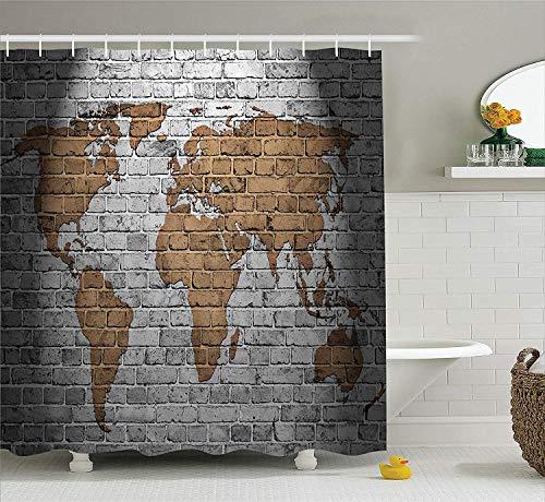 Wanderlust World Map On Old Brick Wall Países Continentes Creativo Añejo Vintage Cortina de ducha áspera Impermeable Decoración de baño Tejidos de cortina de tela de poliéster Ganchos 60x72 pulgadas