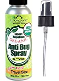 US Organic Mosquito Repellent Anti Bug Outdoor Pump Sprays, 2 Ounce, Travel Size, Certified Organic, Leaping Bunny Cruelty-Free Certified. Proven Results by lab Testing