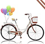 Women Road Bike 26 Inch Classic Retro Bicycle Beach Cruiser Bike with Double Brake Front Basket Back Seat Height-Adjustable Bike Seat for City Cycling Shopping