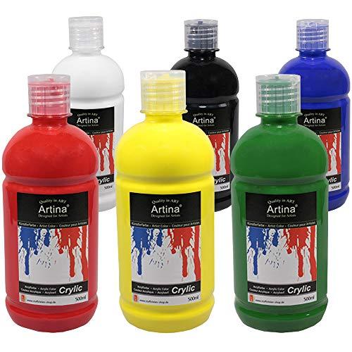 Artina Acrylfarben Set 6x500 ml Künstlerfarben Crylic - Hochwertiges Acryl Set Farbtuben groß Acrylfarbe Malfarben für Leinwand, Holz, Papier, Stein UVM.