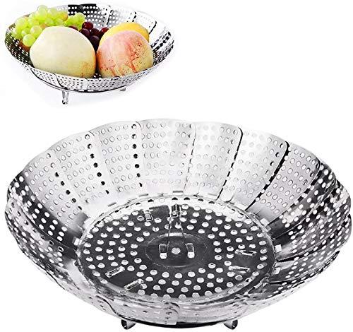 Gemüsedämpfer mit Dünsteinsatz aus Edelstahl, Dampfgar-Einsatz Faltbar Dampfkorb für Gemüse, Kochtöpfe und verschiedenes Kochen (Durchmesser 30cm)