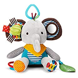 Multisensory play with multiple fabrics and textures Colourful character - Elephant Rattles, chimes, squeaks & mirrors (features vary) Bandana is a soft silicone teether Attaches to stroller car seat or infant carrier