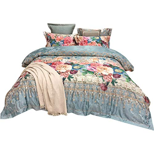 DUIPENGFEI High-End Autumn And Winter Pure Cotton Thick Quilt Cover Four-Piece Cotton Full Set, Duvet Cover, Blue, Double Size Duvet Cover 200 * 230Cm