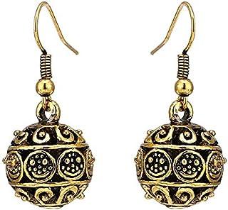 Orecchini in ottone ossidato nero oro balls vecchissimo circles