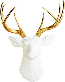 Near and Deer 8 Point Faux Deer Head Wall Mount - Farmhouse Chic Home Office Décor - White/Gold