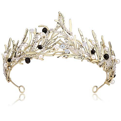 Coucoland Braut Tiara Hochzeit Krone Dekoriert mit Kristall Perlen Luxus Prinzessin Diadem Geburtstagskrone Damen Königin Krone Fasching Kostüm Accessoires (Bronze)