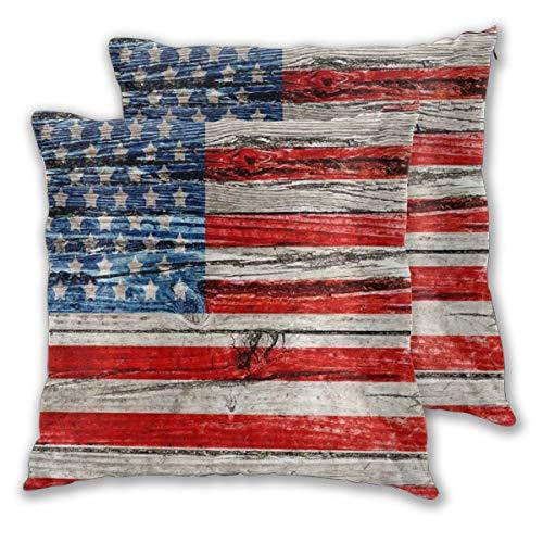 ALLMILL Federe Cuscino 60x60cm,2 Pezzi USA Vecchia Bandiera Americana Dipinta sul recinto di Legno Scuro Decorativo per Auto Sofà Divano Ufficio Salotto Home Decor