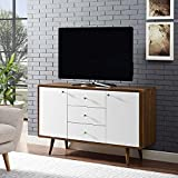 Modway MO-EEI-2531-WAL-WHI-SET 51' Mid-Century Modern Buffet Sideboard TV Stand, 51 Inch, Walnut White