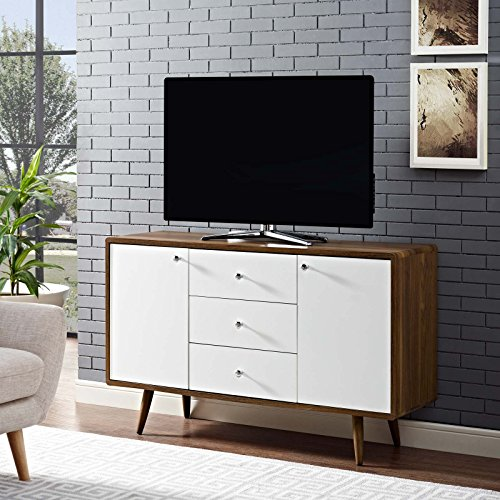 """Modway MO-EEI-2531-WAL-WHI-SET 51"""" Mid-Century Modern Buffet Sideboard TV Stand, 51 Inch, Walnut White"""