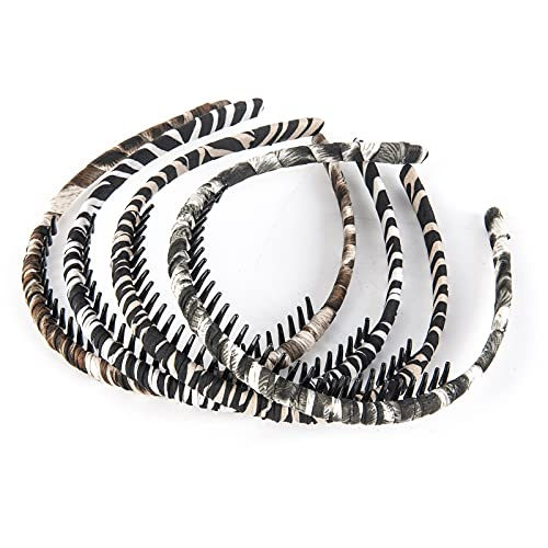 Hairband with Comb Resin Teeth Headband Leopard Comfy Hair Hoop Non slip High Elastic Fashion Hair Accessories for Women Girls Pack of 4
