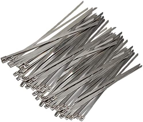 100pcs Stainless Steel Exhaust Wrap Coated Locking Cable Zip Ties 11 8 Inch For Outdoor Applications product image