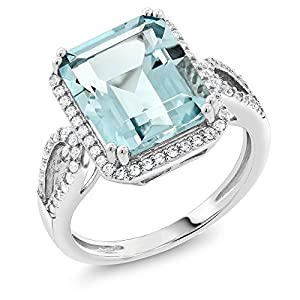 Sterling Silver Simulated Aquamarine Antique Women's Ring (5.00 cttw Emerald Cut Available 5,6,7,8,9)