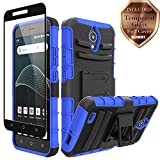 AT&T AXIA QS5509A Case, Cricket Vision DQON5001 Case, Aoways Tempered Glass Screen Protector, Heavy Duty Hard PC Back Cover Soft TPU Inner Kickstand Protective Case for AT&T AXIA QS5509A - Blue
