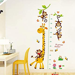 Growth Chart Height Measurement Wall Stickers Cartoon Animals Giraffe Monkeys Wall Decals for Kids Baby Room Decoration
