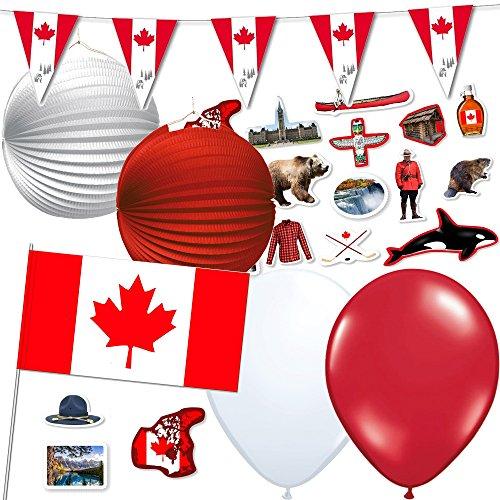 81-teiliges Dekoset * Kanada * für eine Länder-Party // mit Wimpelkette + Flaggen + Lampions +...