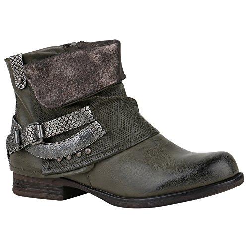 Damen Stiefeletten Leicht Gefüttert Biker Boots Schnallen Metallic Schuhe 150357 Dunkelgrün...