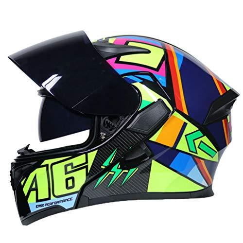 Adulto Doble lense Motocicleta Casco de protección Anti Niebla Flip u
