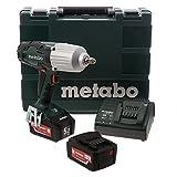 """Metabo 602198650 602198650-Atornillador de impacto a bateria 18V / 2x 5,2 Ah Li-Ion SSW 18 LTX 600 (Nm) 1/2"""" con maletín, 0 W, 18 V, Negro, Verde"""