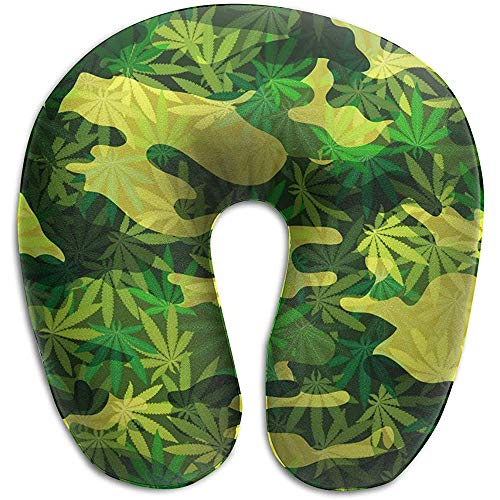 U-Förmiges Nackenhörnchen,Camouflage Cannabis Drug Grasgrün U-Förmiges Kissen Nackenkissen Memory Foam Waschbar Für Komfort Und Bequemlichkeit Auf Reisen