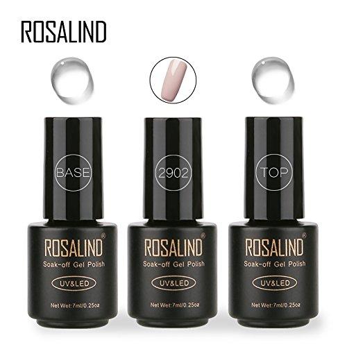 ROSALIND 3 * 7ml Grey Color Nail Gel Polish + Top Coat + Base Coat Long Lasting Suction UV LED Gel Colors DIY Nail Art Design Polish Gel Set (TB2902)