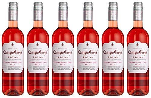 Campo Viejo Tempranillo Rosé Wein – Frischer Rosé mit zart-fruchtigem Geschmack aus Spanien – Weinbox-Set 6 x 0,75 L