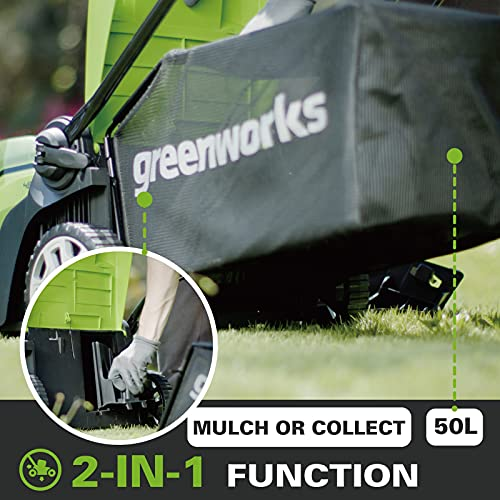Greenworks Battery-Powered Lawnmower G40LM41 (Li-Ion 40V 41cm Cutting Width, 2in1 Mulching & Mowing, 50 L Grass Catcher Bag, 5 x Cutting Height Adjustment Without Battery and Charger)