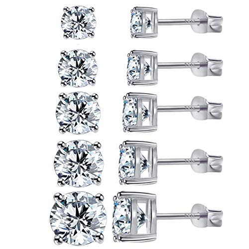 Diamond Stud Earrings for Women Cubic Zirconia Round Earrings Sets Diamond Earrings for Men 18K White Gold Plated Earrings with 925 Sterling Silver Post (5Pairs)