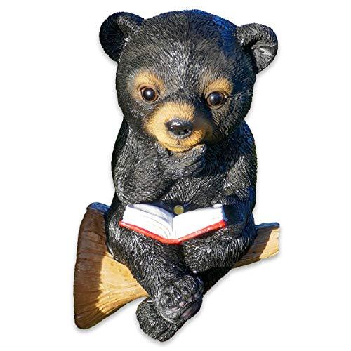 SHACAMO Baumtiere mit Solarlicht Bär oder Eichhörnchen mit Buch (Bär schwarz)