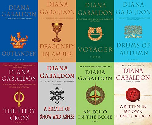 Big Size Diana Gabaldon's Outlander Series - 8 Book Trade Paperback Set (Outlander, Voyager, Dragonfly in Amber, Drums of Autumn, Fiery Cross, A Breath of Snow and Ashes, An Echo in the Bone )