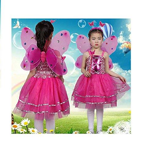 Matissa Bimba per Bambine 4 Pezzi Completa Farfalla Fata Costume Set per Bambini Ali di Farfalla Alice Fascia Tutu Abito Bacchetta (Rosa Caldo)
