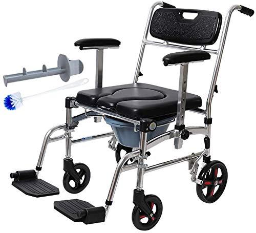 Mobile Toilette Rollstuhl - Klappbett wasserdichter Aluminium-Nachttisch, verstellbare Armlehne, abnehmbares Pedal/Fass (4 Räder)