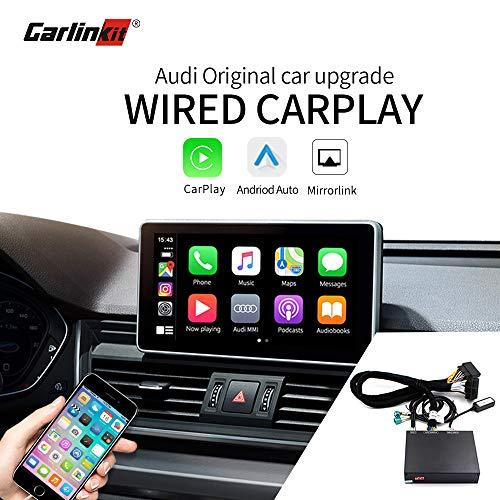 Carlinkit Wired CarPlay Android Auto Decoder Retrofit Kit para (A3 S3 Q3 A1 2013-2018), (A4-A7 S4-S7 Q5 Q7 C6 C7 C8 2009-2018) Interfaz MuItimedia iOS13 Split Screen Reverse Image