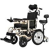 Silla de Ruedas Heavy Duty, Motor de Plegado accionado eléctricamente 250W * 2 Asiento Doble Anchura 45 cm 360 ° Palanca de Mando adaptación a una Variedad de Pacientes pavimento en.