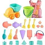 SHANNA Juguetes de Playa para niños, Juego de Juguetes de Playa y Arena para niños con Camion Bucket Castle Moldes y Bolsa de Malla Material plastico Blando (22 Piezas)