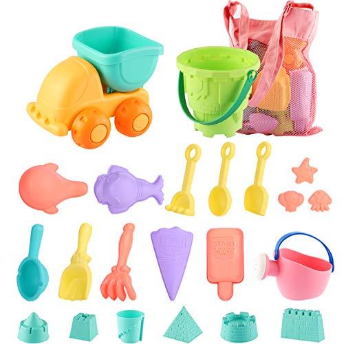 Juguetes de Playa para niños, Niños Material Plastico Juguetes Arena y Arena para niños con Camion Bucket Castle Moldes y Bolsa de Malla Material plastico Blando